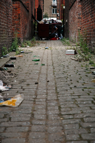 Rubbish in an alleyway in Manchester, England