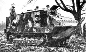 Black and white photograph of a CA 1 Schneider tank, manned by three soldiers who appear in the photo, one very prominently standing up out of the rear