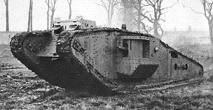 British Tank Mk IV with tadpole tail, standing in a churned-up muddy field, with trees and a house in the background