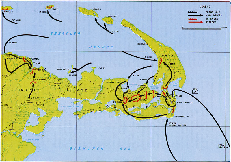 Map with markings representing the US Army operations Brewer and Beefsteak in the Admiralty Islands.