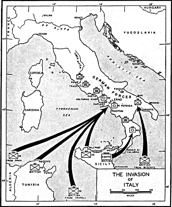 Map showing Allied invasion of Italy  1943