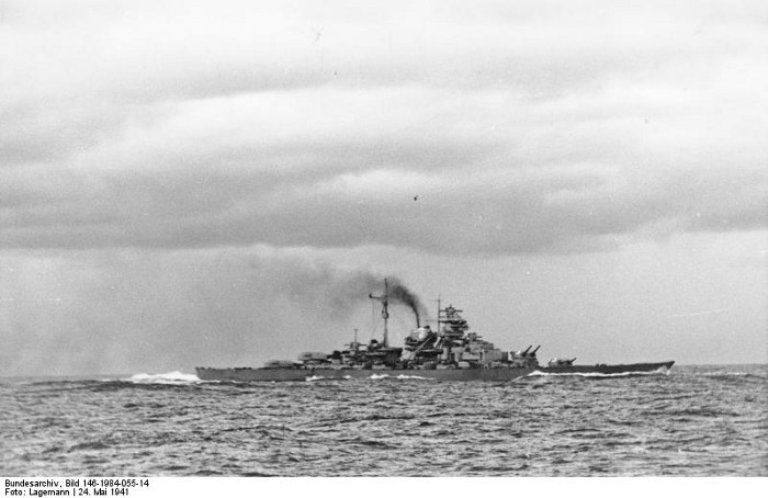 Bismarck as seen from Prinz Eugen after the Battle of the Denmark Strait