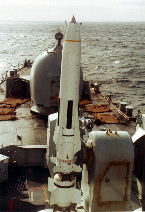 Sea Dart missile on HMS Cardiff in 1982