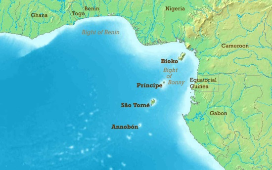 A map of the Gulf of Guinea
